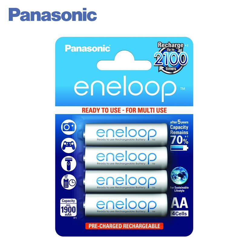 Panasonic BK-3MCCE/4BE Rechargeable Batteries eneloop 1900mAh AA R6 BL4 цена и фото