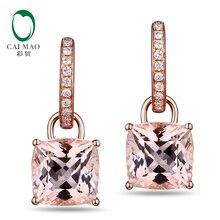 CaiMao 14KT/585 Rose Gold 4.95ct Natural Morganite 0.17ct Round Cut Diamond Engagement Gemstone Earrings Jewelry