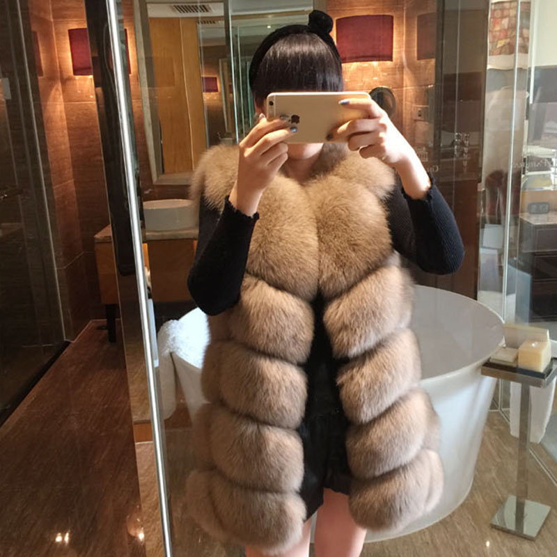 NEW shipping all real photos hot new natural fox fur long vest real fox fur gilet