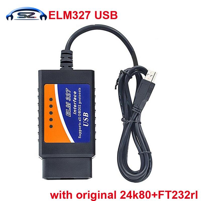 Prix pour Meilleur qualité elm 327 usb avec original FT232RL et PIC18F24k80 puce la elmconfig logiciel elm327 usb obd scanner