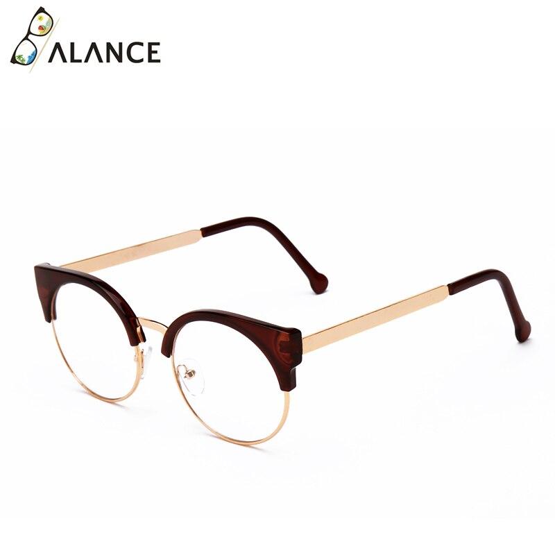 Женские простые очки кошачий глаз, полуоправа, прозрачные линзы, круглые очки, сексуальные винтажные очки кошачий глаз, оправа, брендовые дизайнерские очки - Цвет оправы: Brown