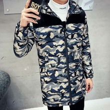 Printed hoodies casual coat down jackets winter camouflage jackets men student coat thick long handsome parka