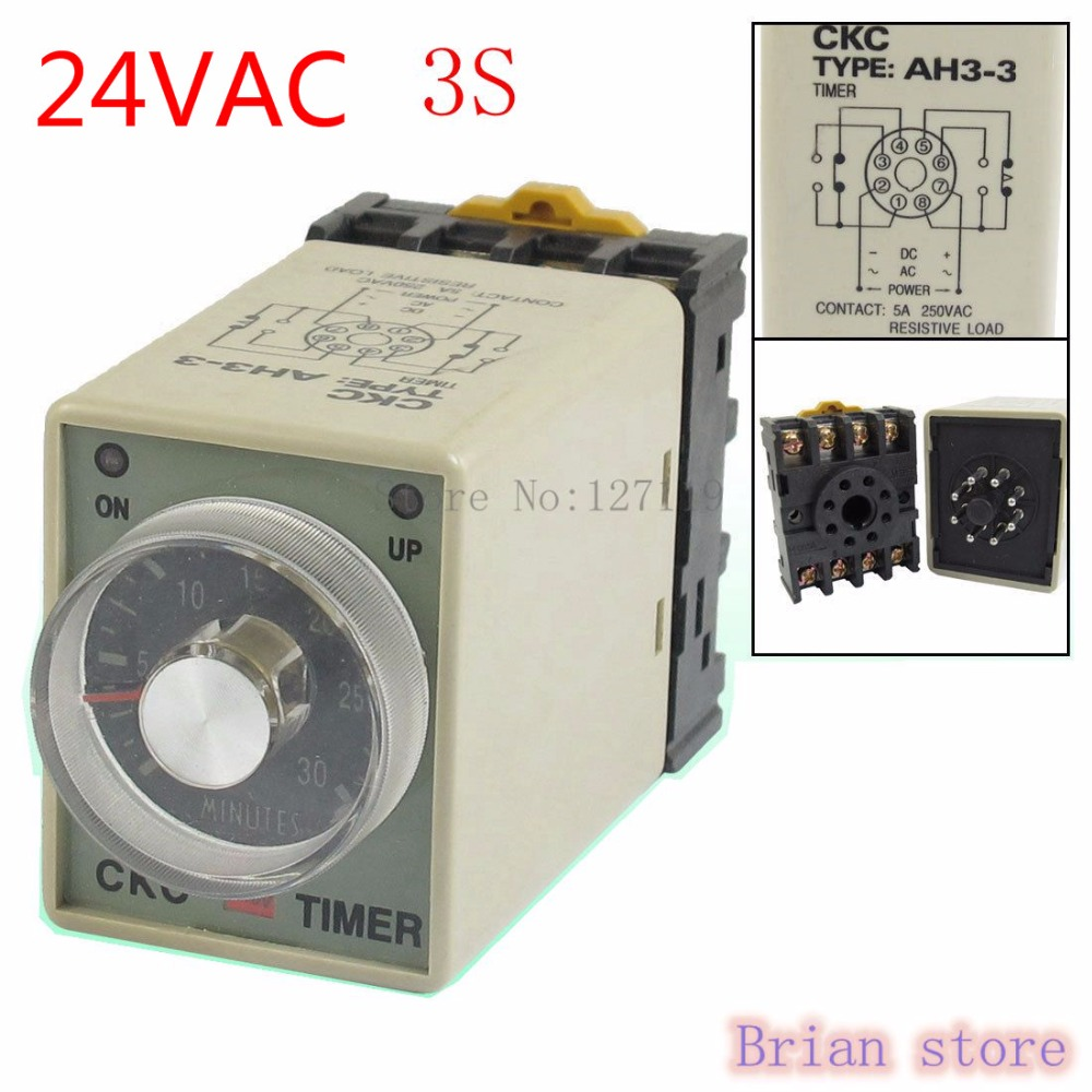 3S AH3-3 Power on Delay Timer Time Relay 24VAC  Plastic Housing 8 Pin hhs6a correct time countdown intelligence number show time relay bring power failure memory ac220v