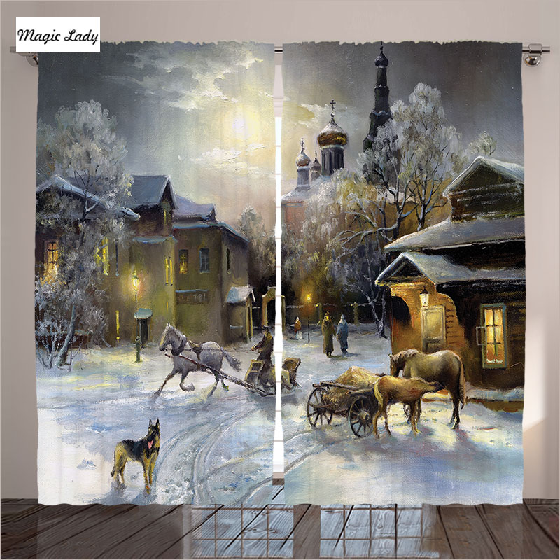 House Curtains Living Room Bedroom Winter Landscape Western Town Night World Rurals Retro Art