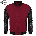 COOFANDY Men Sweater PU Leather Collar Sweater Personalized Baseball Stitching Clothes Man Jacket Plus Size S-2XL EZ