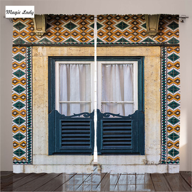 Gedrukt gordijnen woonkamer slaapkamer windows architectuur lissabon ...