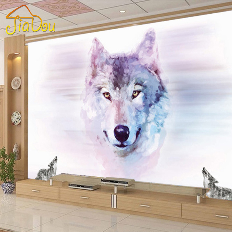 Custom 3D Stereo Large Mural Wolf Totem Animal Wallpapers Bedroom Living Room TV Background Wall Covering Non-woven Wallpaper твое ривьера 36 0000 xs