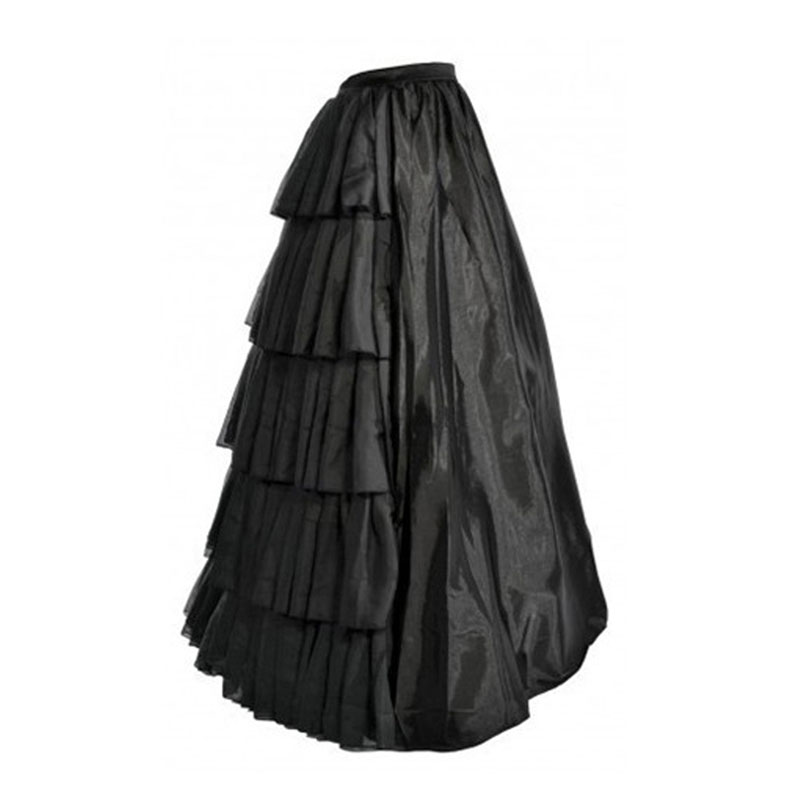 Layers Black Petticoat With Ruffles Crinoline Vintage Black Satin Multi Layer Ruffles Floor Length Petticoat S027