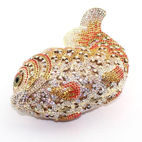 Fantaisie or poisson cristal mode femmes mariage sac à main fête embrayage sac de soirée (8662A-G) - 5