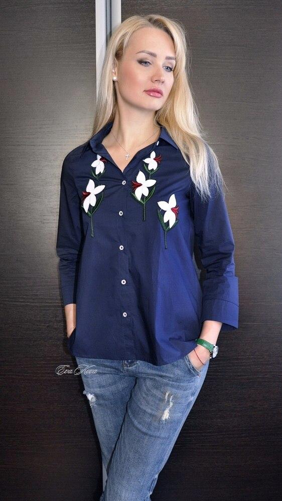 Хлопковая рубашка с цветами