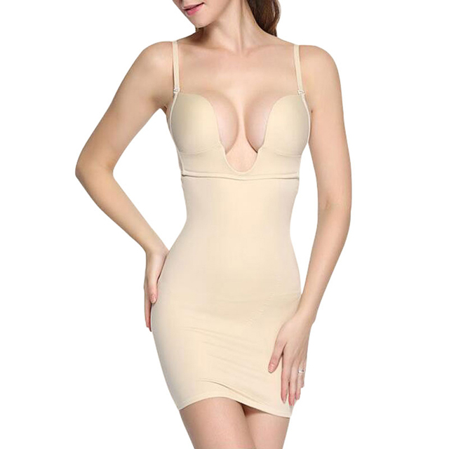 Beige Backless Under Dress Garment Shapewear Slip Body Shaper With Bra Cup For Wedding Evening Bridal