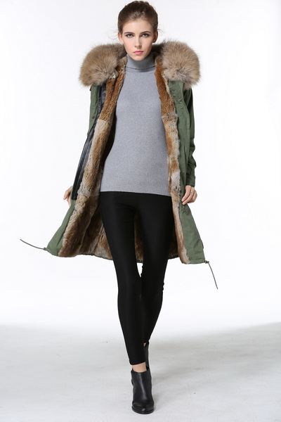 2016 New Women Winter Army Green Jacket Coats Thick Parkas Plus Size Real Raccoon Fur Collar Hooded Outwear Fast Delivery