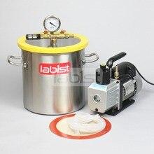 3,2 галлон(12.3л) комплект вакуумной камеры с 3CFM(1.4L/s) 110V вакуумный насос, 25 см* 25 см камера дегазации из нержавеющей стали