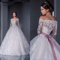 C V Robe De Mariage 2016 Off The Shoulder Lace Islamic Wedding Dress Ball Gown Long