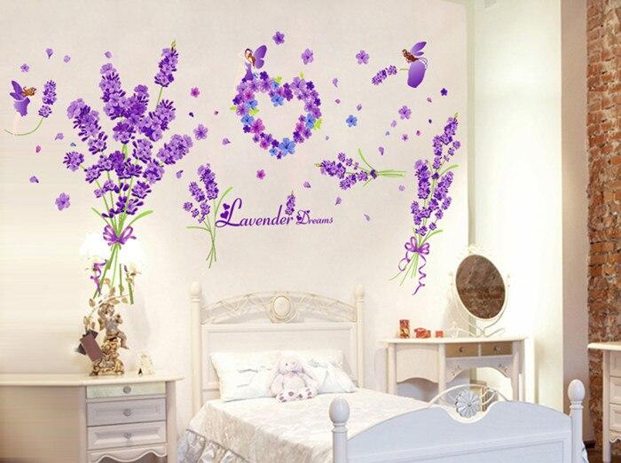 Lavender Wall Art online shop [shijuehezi] purple lavender wall stickers vinyl diy