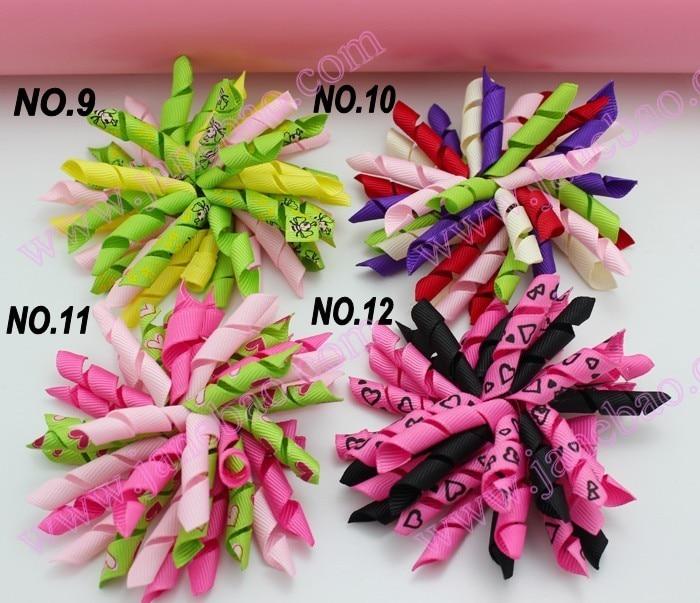 45 шт. 3,5 дюймов коркер банты(для шитья) шевронная лента банты красочные девушки заколки для волос