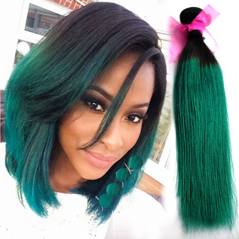 Ombre 2 Tone 1b Green Hair Weave Brazilian Virgin Remy Human Hair