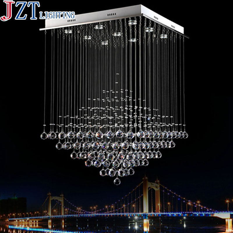 M Modern Luxury Pyramid Crystal Chandelier K9 Square Crystal Light for Stair / Foyer/ Hallway Ready Stock GU10 Halogen Lamp