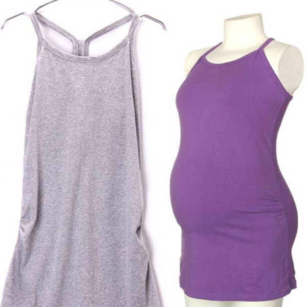 Womens Strappy Vest Tank Tops Camisole Maternity Pregnant Casual T Shirt For Pregnant Woman