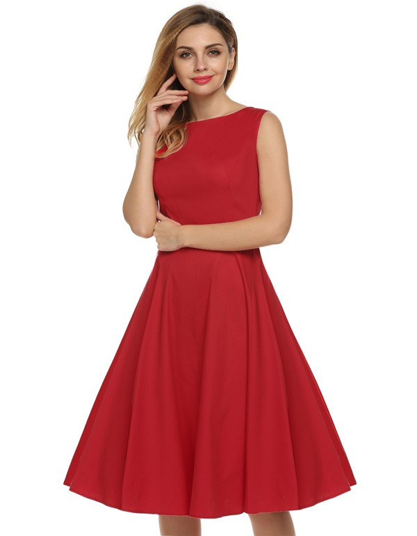 ACEVOG Women Dress Retro Vintage 1950s 60s Rockabilly Floral Swing Summer Dresses Elegant Bow-knot Tunic Vestidos Robe Oversize 29