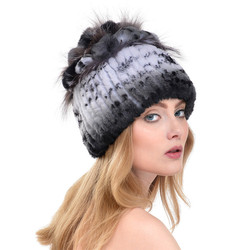 Women Rabbit Real Fur Hat With Fox fur flower Top 2016 New Fashion Natural Rex Rabbit Hats Ear Caps For Winter LH349