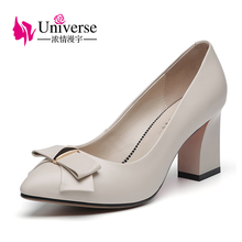 Universe Genuine Leather Pumps Women Shoes Thick Heel Elegant Office Career Shoes with Butterfly knot E029