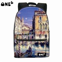 2016 ONE2 Дизайн красивый город pattern нейлон печати школы рюкзак дешевые рюкзак для девочек-подростков