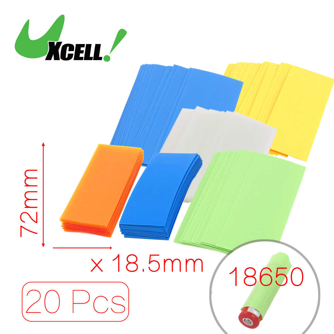 Uxcell 20Pcs 29.5Mm 18.5Mm Pvc Heat Shrink Tubing For Single 18650/18500 Battery .bluecleargreenyellow