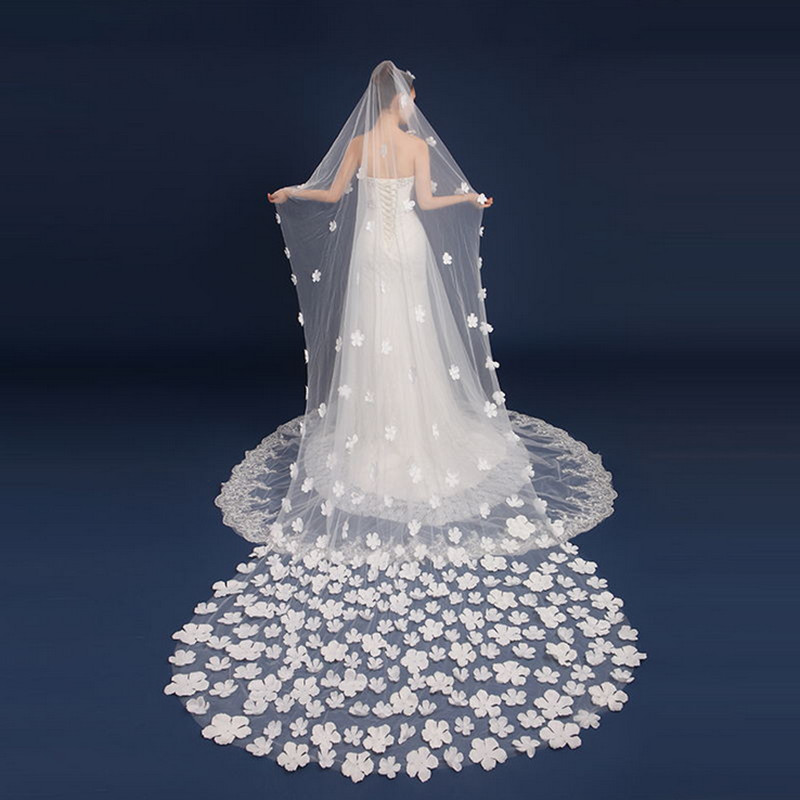 Bridal Veils Initiative Bridal Veil Ivory Veu White Ivory Detalles Boda One-layer 3 Meters Veu De Noiva Curto Flower Petal Appliqued Weding Accessories 2019 Official