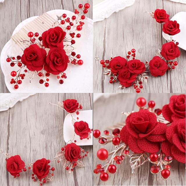 Mhs Soleil Rouge Fleur Accessoires De Cheveux De Mariee Fleur Rouge