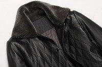 мужская с кожа пуховик кожа ягненка ворота шерстей мода куртка пальто зима мужчины большой размер ххl XXXL осенняя бесплатная доставка