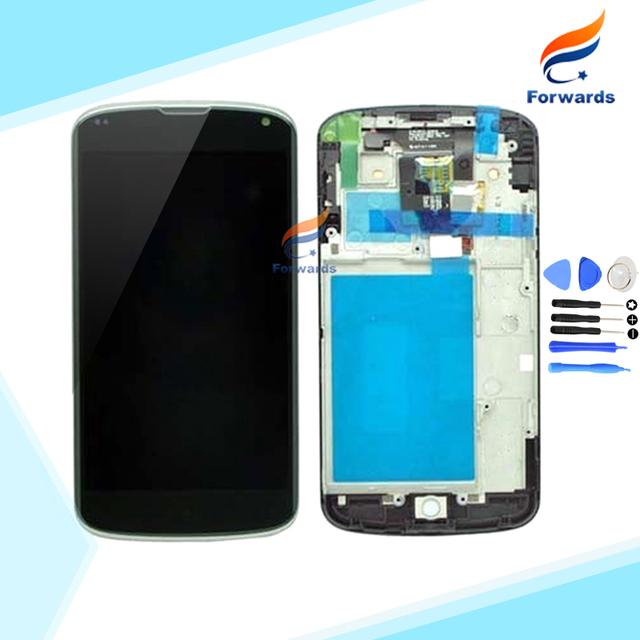 Marca nuevo piezas de repuesto para LG Nexus 4 E960 LCD pantalla de visualización with touch digitalizador + frame asamblea 1 unidades HK envío gratis
