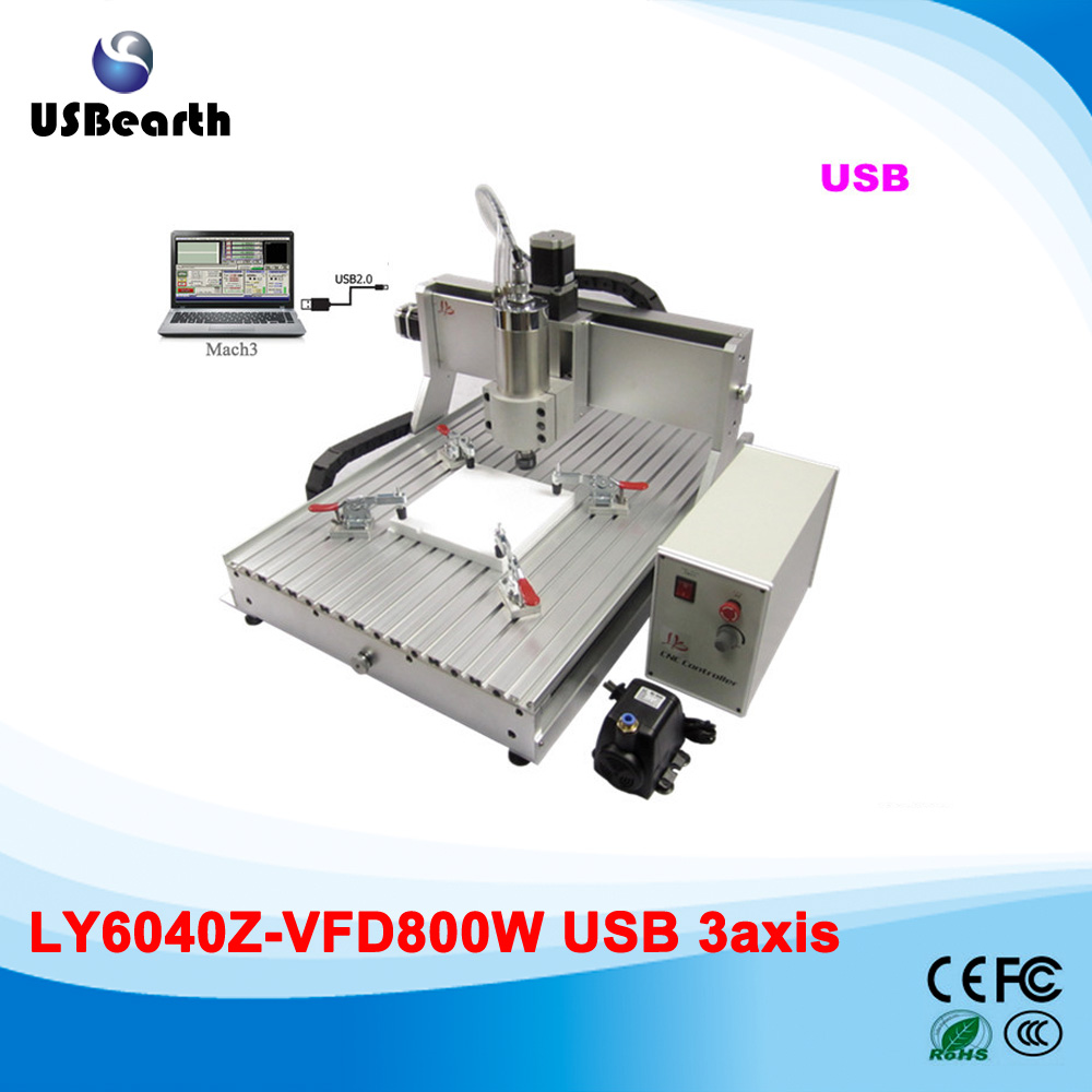 цена на 6040 Z-VFD USB 3 axis cnc router with ball screw, 800W water cooled spindle engraving machine, assembled & tested well
