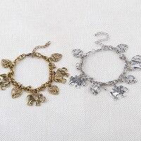 Vintga Elephants Bracelet Peach Heart Chain Clavicle Love Gold Silver Bohemian Bracelets & Bangles