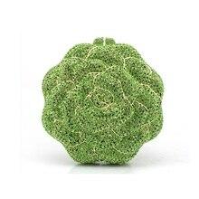 5019G green crystal ROSE Floral Flower Wedding Bridal Party Night hollow Metal Evening purse clutch bag case box handbag