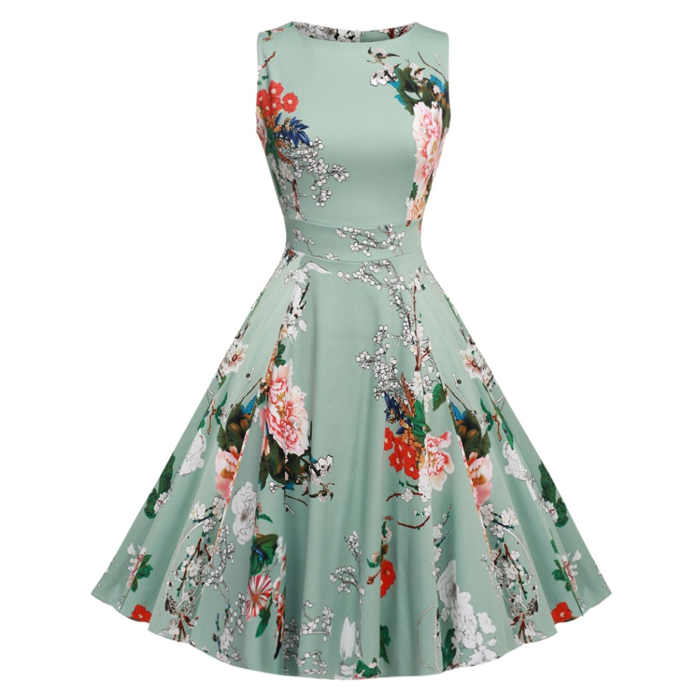 ACEVOG Women Dress Retro Vintage 1950s 60s Rockabilly Floral Swing Summer Dresses Elegant Bow-knot Tunic Vestidos Robe Oversize 31
