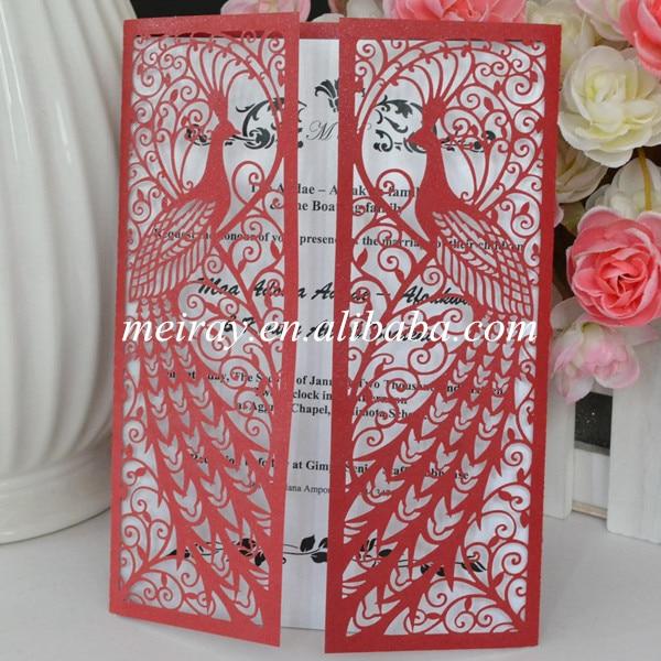 pearl paper red laser cut wedding invitationspeacock wedding