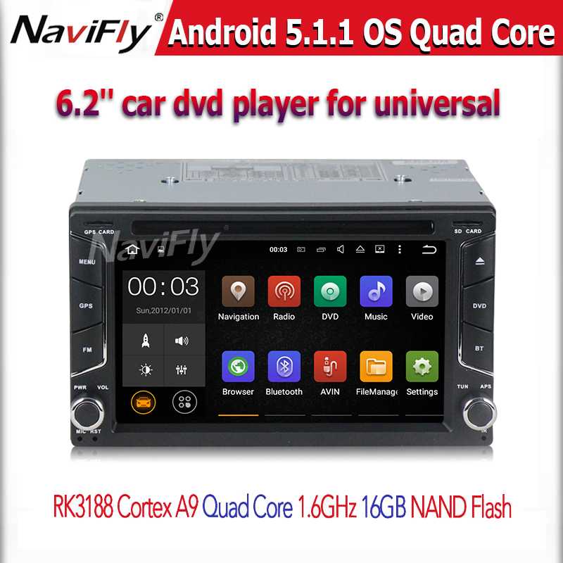 free shipping Quad Core Pure Android 5.1 Car DVD Player for 2 din universal car radio stereo  BT GPS 16G nand flash