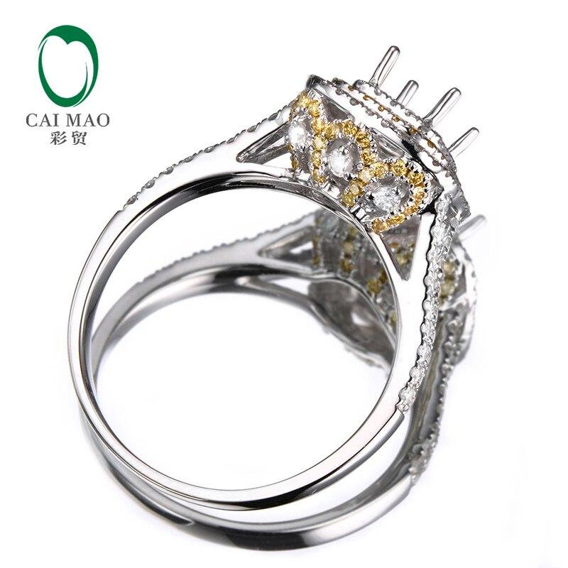 Anniverary 18 K Ouro Branco Jóias Anel de Noivado de Diamante Semi Monte  0.85ct Natural 4x6mm Emerald Cut Configuração em Anéis de Jóias    Acessórios no ... 85318b777c