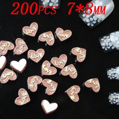 Шоколад в форме сердца торт дизайн 3d наклейки для ногтей Смола Flatback для дизайна ногтей мобильного телефона DIY 200 шт/стиль