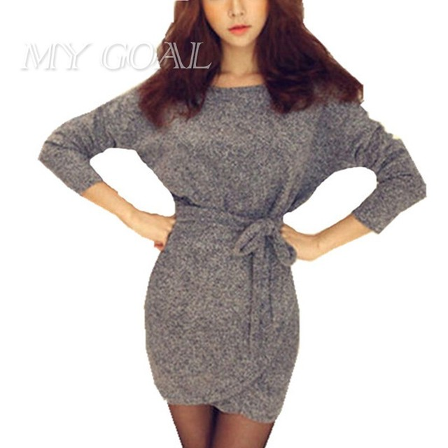 Femmes robes Moulante Manches Longues Slim Tricot Mini Robe Tunique Hiver  style Européenne Top Mode Sexy 394c53b72d9b