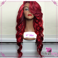 Wine Red With Bright Red Highlights Synthetic Lace Front Wig Body Wave Glueless 99J Heat Resistant Fiber Glueless Lace Wig