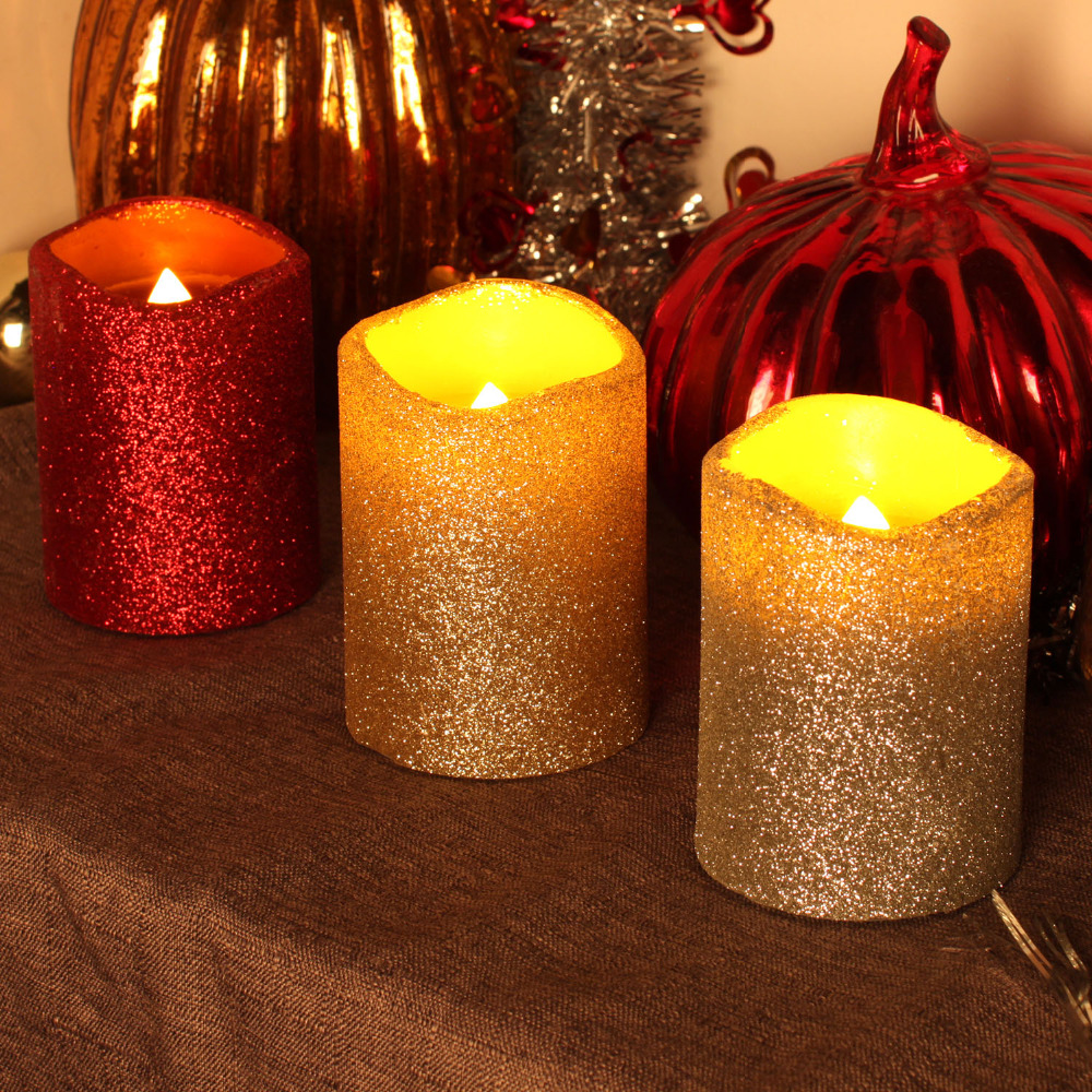 dfl flameless real wax led pillar candles with timer with glitter powderfor home party - Flameless Candles With Timer