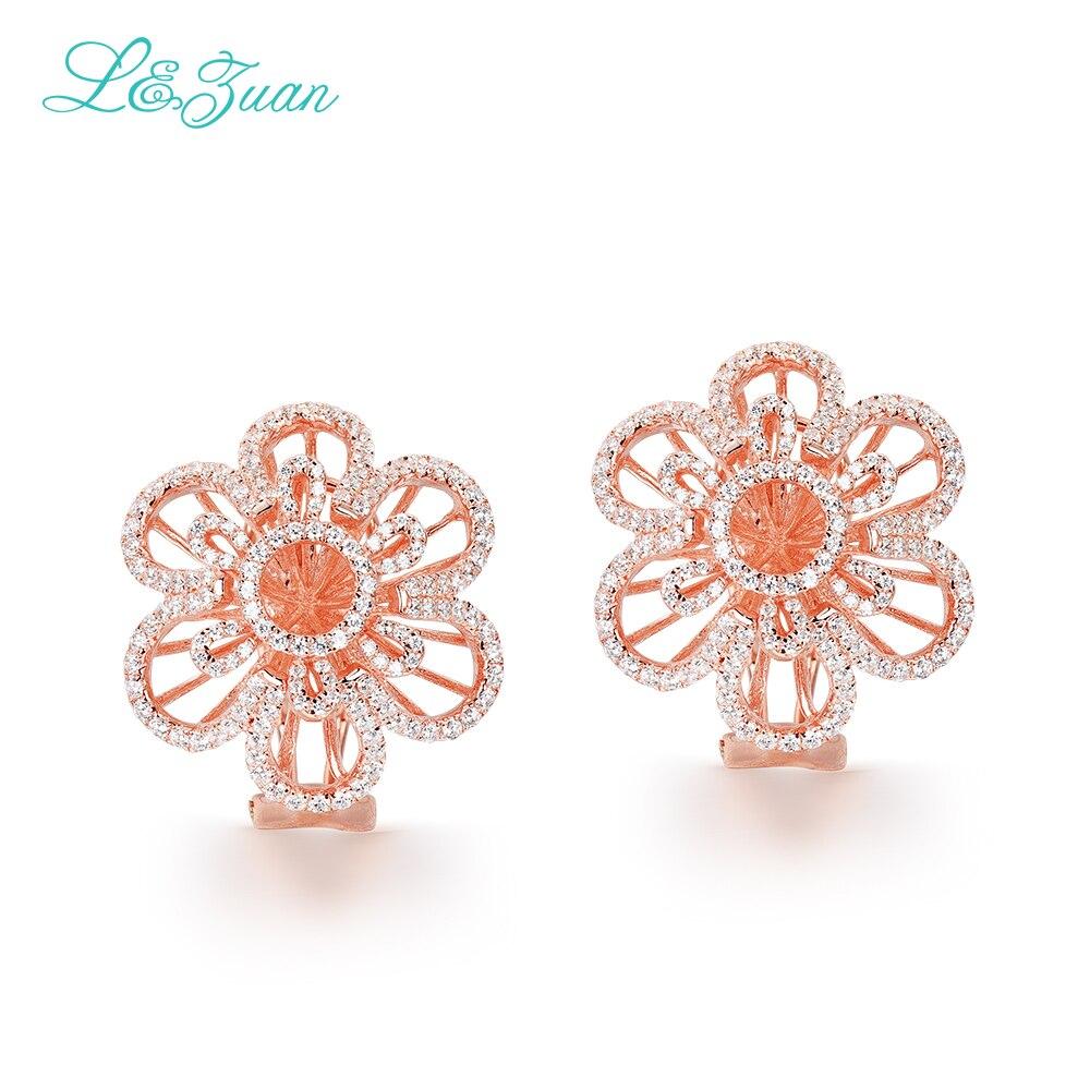 L & zuan 100% réel 925 bijoux en argent Sterling plaqué or Rose 2.26ct bijoux en diamant avec pierres précieuses boucles d'oreilles Clip fleur pour les femmes