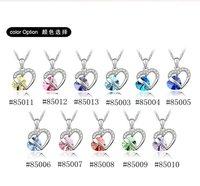элегантный кристалл в форме сердца ожерелье с блестящими кристалл мода ювелирные бесплатная доставка #85012