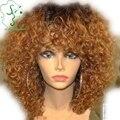 Блондинка меда ломбер полный человеческих волос парики Glueless девы перуанский странный вьющиеся фронта парик с полной челкой два тона 1b / 27