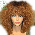 Honey Blonde Ombre Full Lace Human Hair Wigs Glueless Virgin Peruvian Kinky Curly Lace Front Wig With Full Bangs Two Tone 1b/27