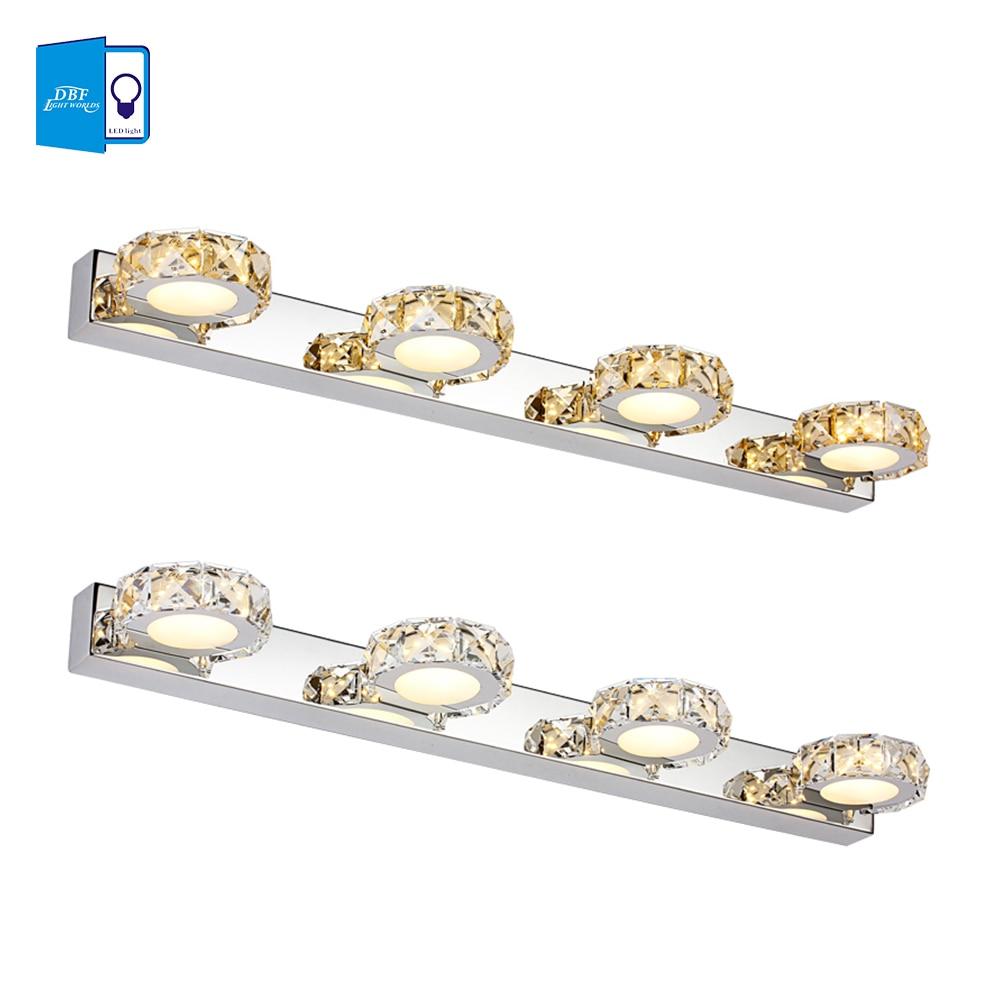 ФОТО [DBF] led lampada crystal modern bathroom mirror lighting 6W 9W 12W Led Wall Sconce Lamps Bedroom Bathroom Light 32/46/62cm