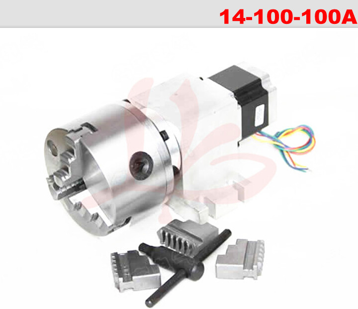 Rotary axis 14-100-100A 100mm 3 jaw chuck for Mini CNC router/engraver 100
