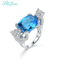 l&zuan 100% Real 925 Sterling Silver Fine Jewelry Leopord Fashion Ring Natural Topaz Blue Stone Party Rings For Women 0921